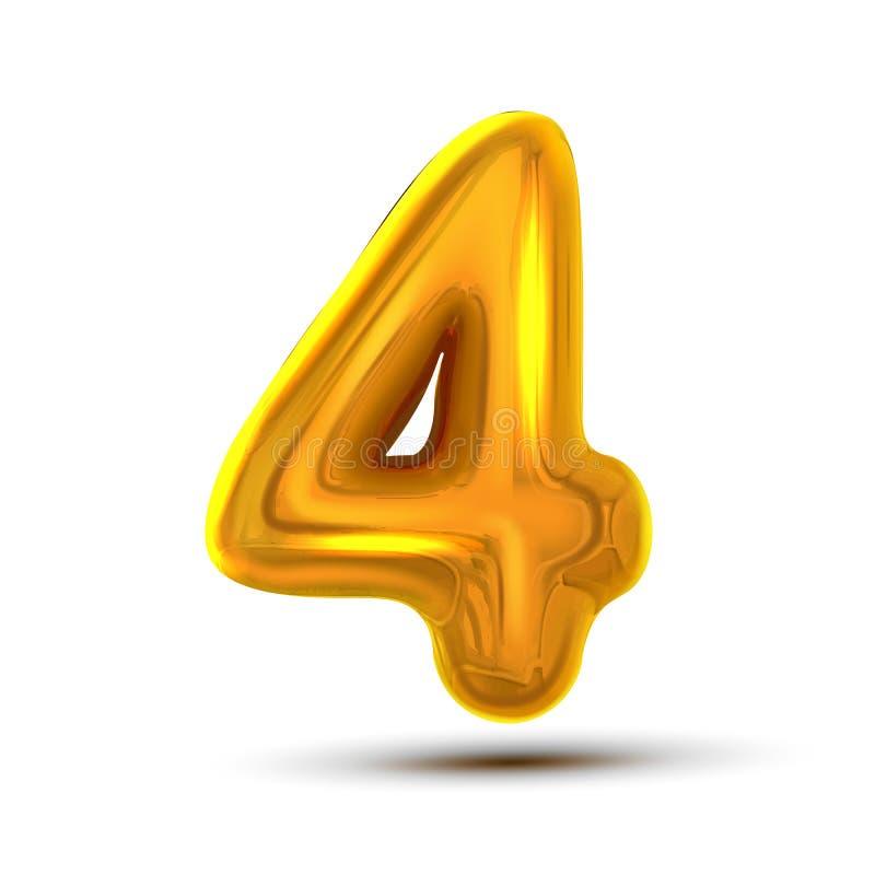 4 vetor de quatro números Figura dourada da letra do metal amarelo Dígito 4 Caráter numérico Elemento do projeto da tipografia do ilustração stock