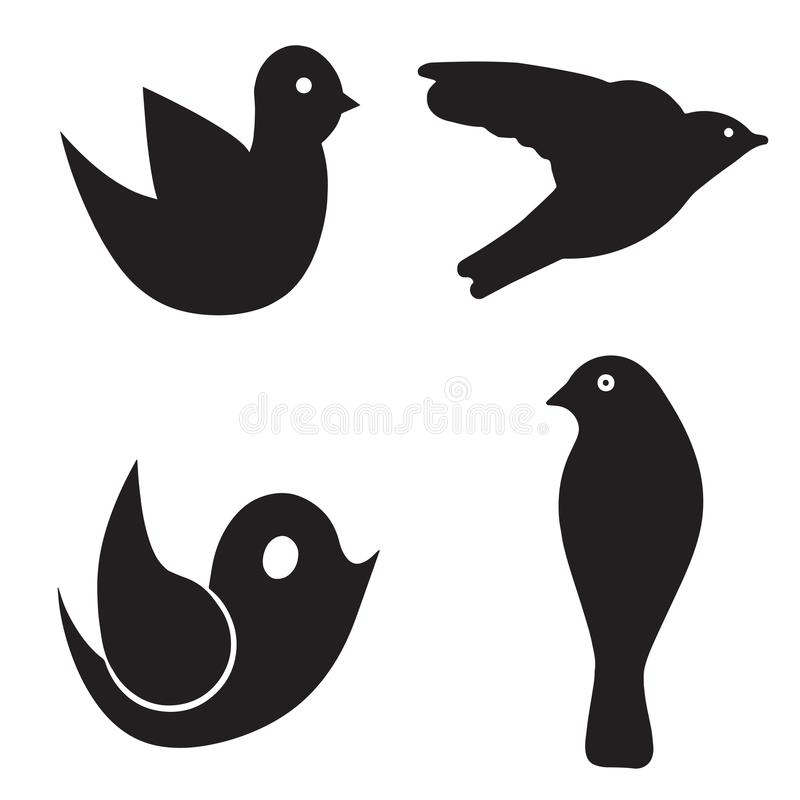 Vetor de quatro pássaros ajustado - pássaro preto da silhueta ilustração stock