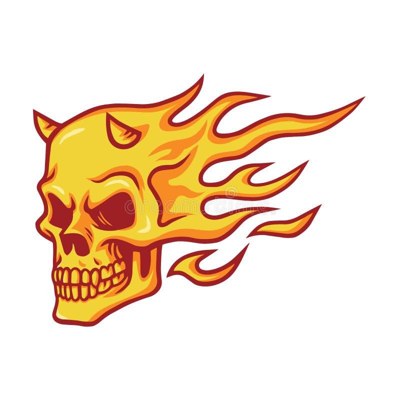 Vetor de queimadura do fogo do crânio ilustração stock