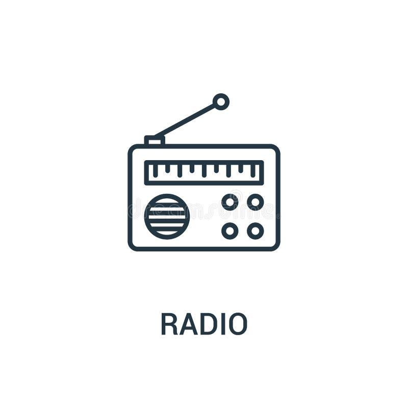 vetor de rádio do ícone da coleção dos anúncios Linha fina ilustração de rádio do vetor do ícone do esboço Símbolo linear para o  ilustração do vetor