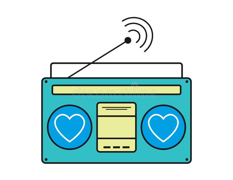 Vetor de rádio do ícone, ondas retros velhas do receptor de rádio, sinal do afinador isolado no fundo branco Rádio velho eps10 do ilustração royalty free