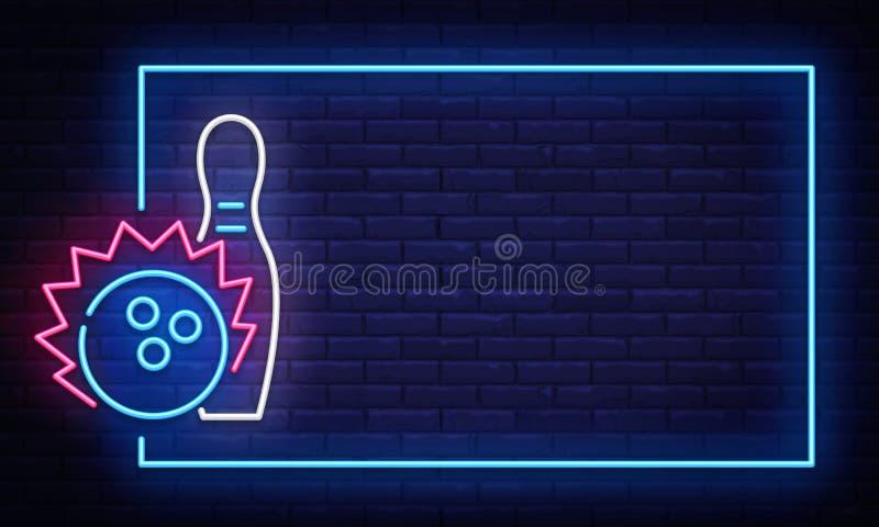 Vetor de rolamento do sinal de néon Molde de néon do projeto do clube do boliches do quadro, bandeira clara, quadro indicador da  ilustração stock