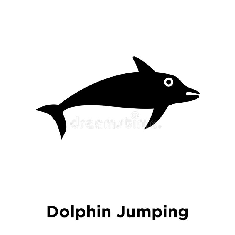 Vetor de salto do ícone do golfinho isolado no fundo branco, logotipo c ilustração stock