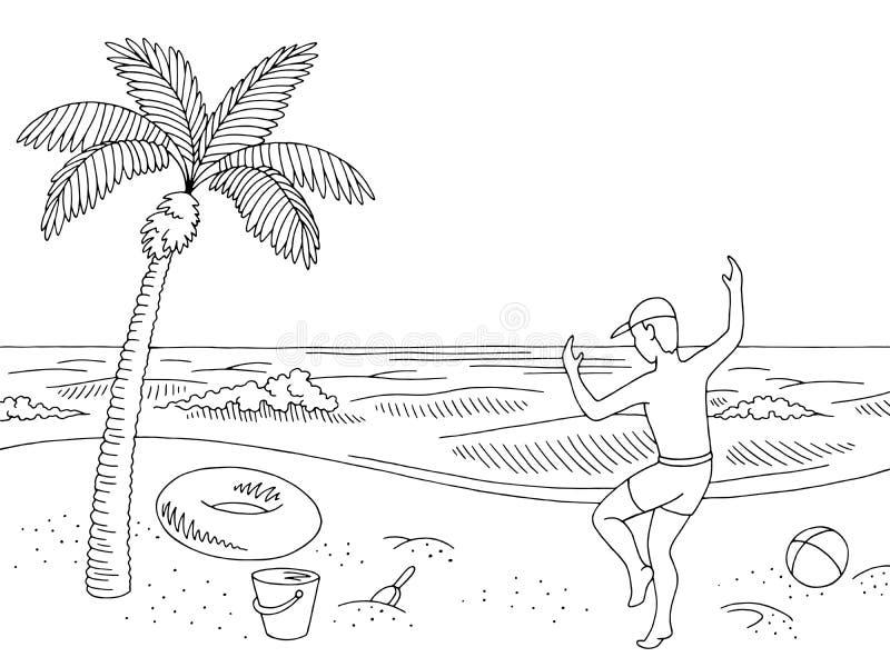 Vetor de salto feliz da ilustração do esboço do menino da paisagem branca preta gráfica da praia da costa de mar ilustração royalty free