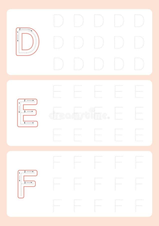 Vetor de seguimento da folha do traço do alfabeto das folhas das letras do jardim de infância ilustração stock