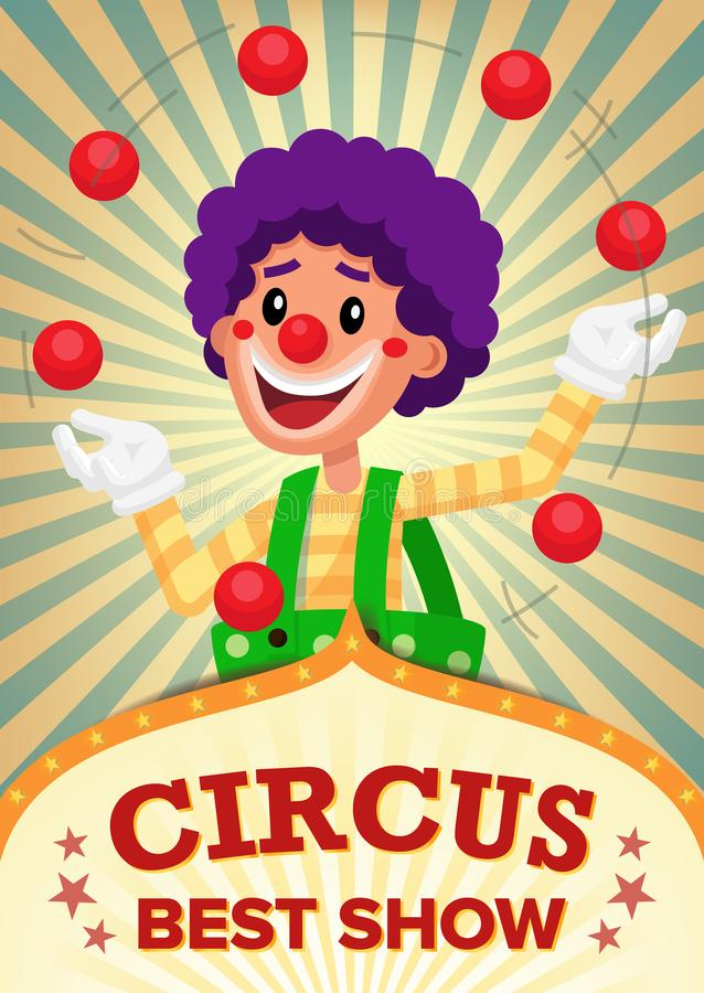 Vetor de Show Poster Template do palhaço de circo Parque de diversões do partido Para sua propaganda Ilustração ilustração royalty free