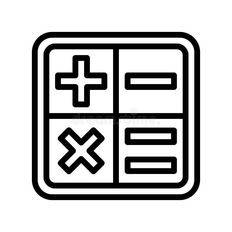 Vetor de sinais de matemática, ícone Voltar ao estilo da linha da escola ilustração do vetor