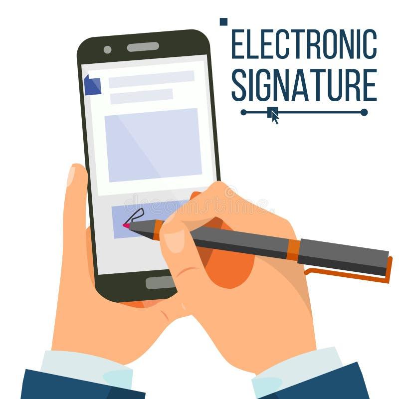 Vetor de Smartphone da assinatura eletrônica Mãos do homem de negócios Sinal de Digitas Acordo do negócio Documento eletrónico ilustração stock