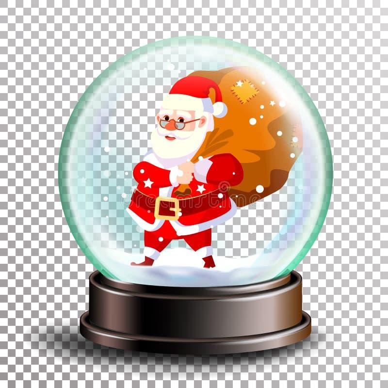 Vetor de Snowglobe do Natal Papai Noel bonito com presentes Bola da esfera Bola vazia do cristal Fundo transparente ilustração royalty free