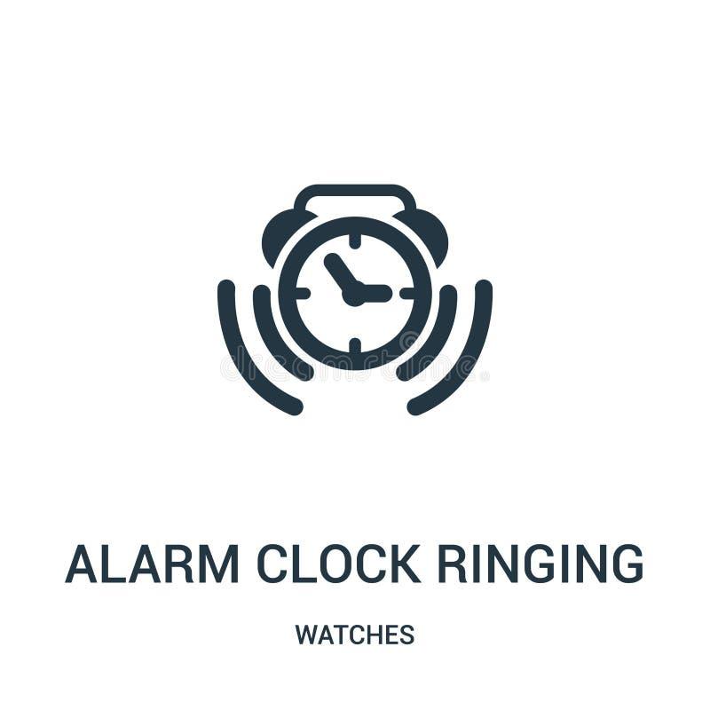 vetor de soada do ícone do símbolo do despertador da coleção de relógios Linha fina vetor de soada do ícone do esboço do símbolo  ilustração stock