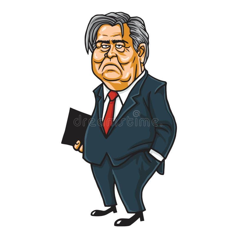Vetor de Steve Bannon Cartoon Caricature Portrait ilustração do vetor
