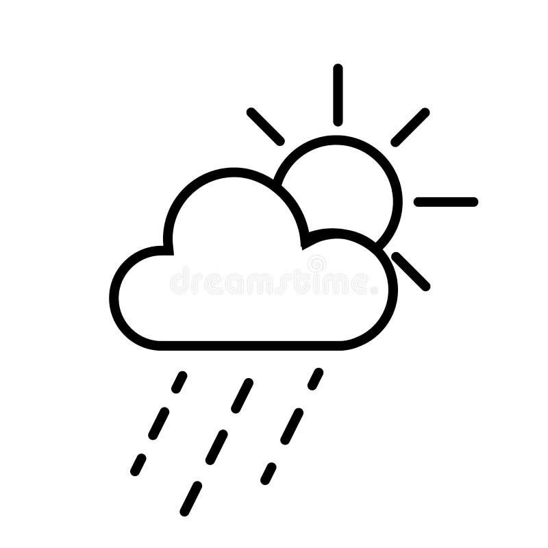 Vetor de Sun e de ícone das nuvens de chuva ilustração royalty free