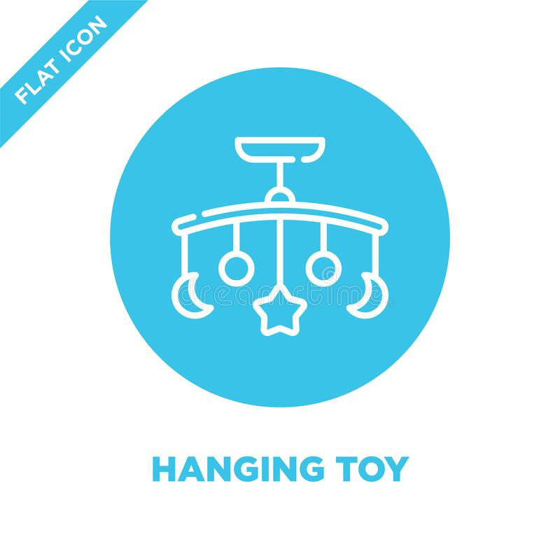 vetor de suspensão do ícone do brinquedo da coleção dos brinquedos do bebê Linha fina ilustração de suspensão do vetor do ícone d ilustração stock