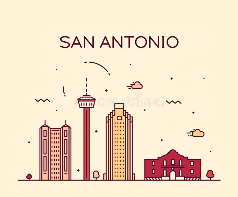 Vetor de Texas EUA da skyline da cidade de San Antonio linear ilustração royalty free