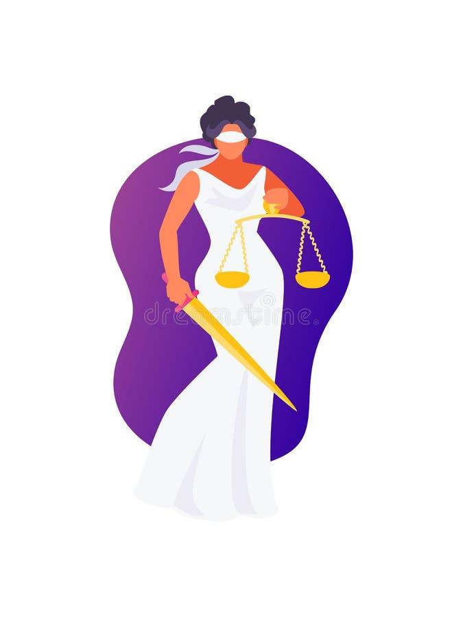 Vetor de Themis da deusa ilustração royalty free