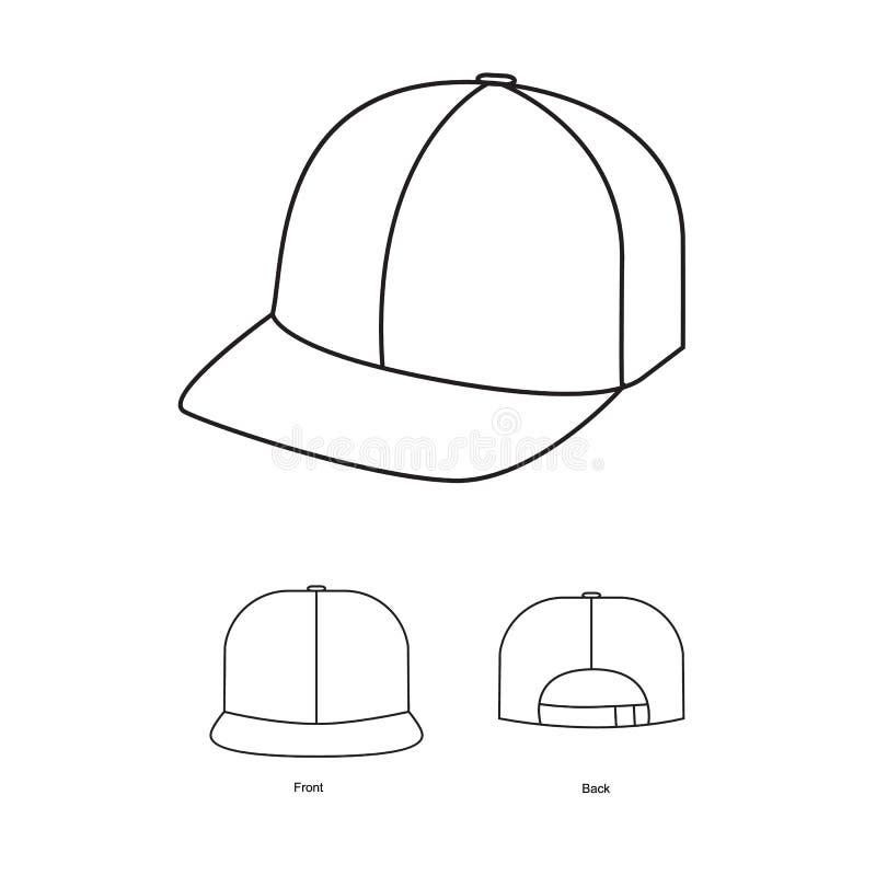 Vetor de tiragem técnico do boné de beisebol ilustração do vetor