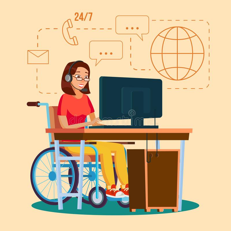 Vetor de trabalho da mulher deficiente Conceito da socialização Cadeira de rodas com pessoa personagem de banda desenhada liso ilustração royalty free