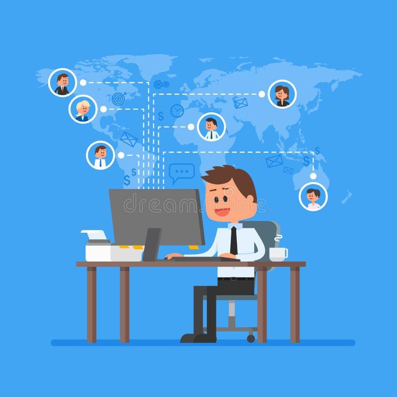 Vetor de trabalho do conceito da equipe remota Trabalho da ilustração home no estilo liso Controle e gestão do projeto do negócio ilustração do vetor