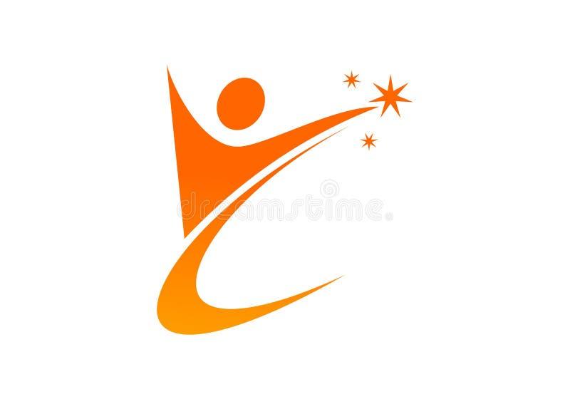 Vetor de treinamento do logotipo dos povos do sucesso ilustração royalty free