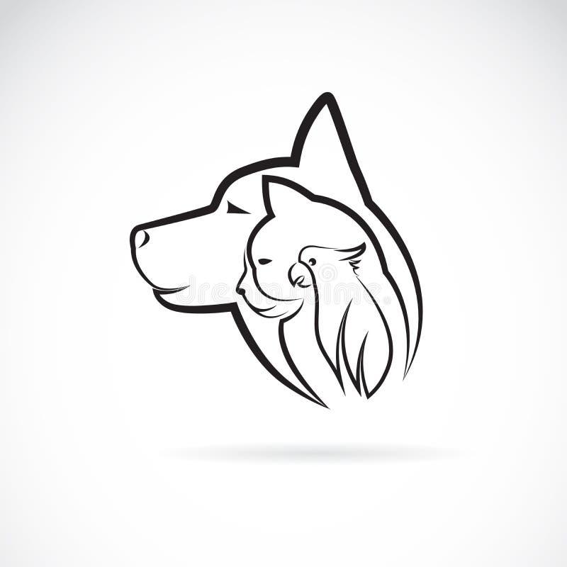 Vetor de um gato e de um pássaro do cão no fundo branco Animal de estimação do logotipo ilustração royalty free