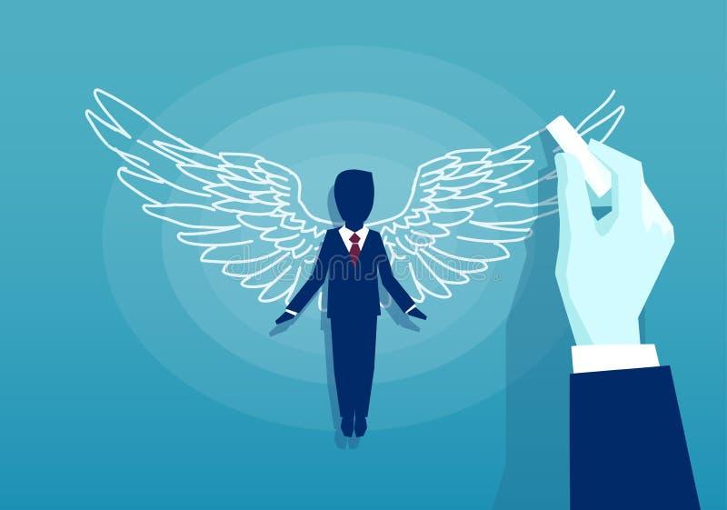 Vetor de um homem de negócio com asas ilustração stock