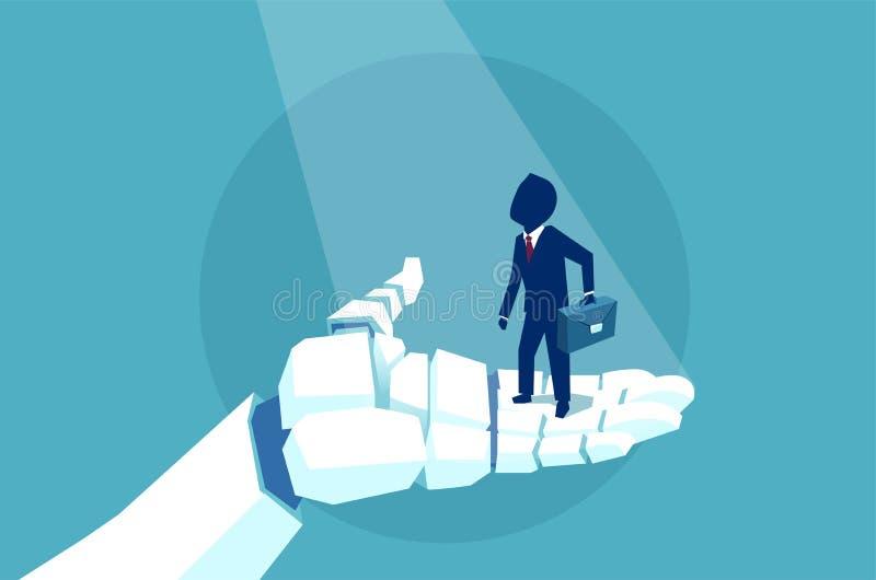 Vetor de um homem de negócio em uma mão do robô ilustração royalty free
