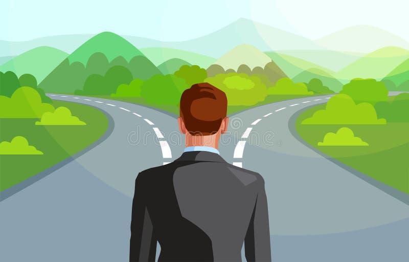 Vetor de um homem de negócio na frente de duas estradas que decide que maneira de ir na vida ilustração do vetor