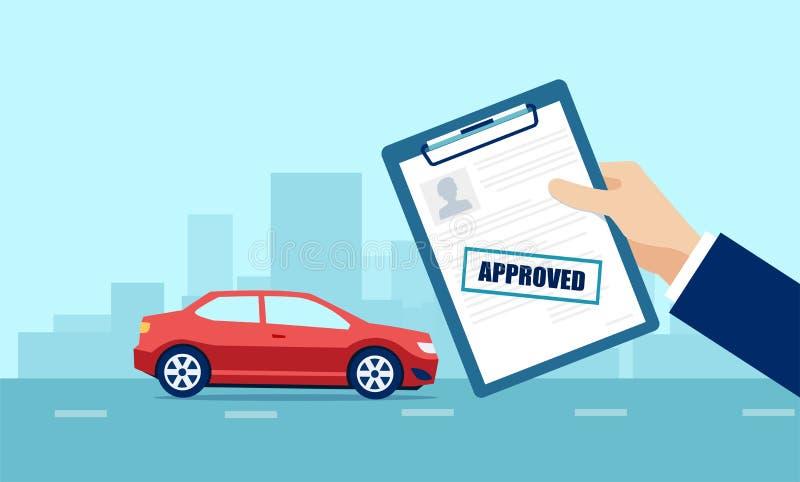 Vetor de um homem de negócio que guarda pedido aprovado para o empréstimo automóvel ilustração royalty free