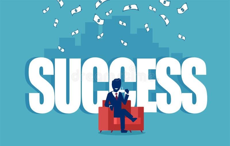 Vetor de um homem de negócios bem sucedido que senta-se em uma poltrona vermelha sob a chuva do dinheiro ilustração royalty free