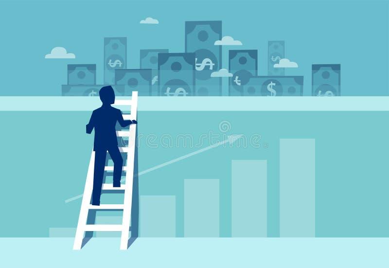 Vetor de um homem de negócios desafiado que escala acima a parede para ver oportunidades financeiras dos bens imobiliários ilustração royalty free