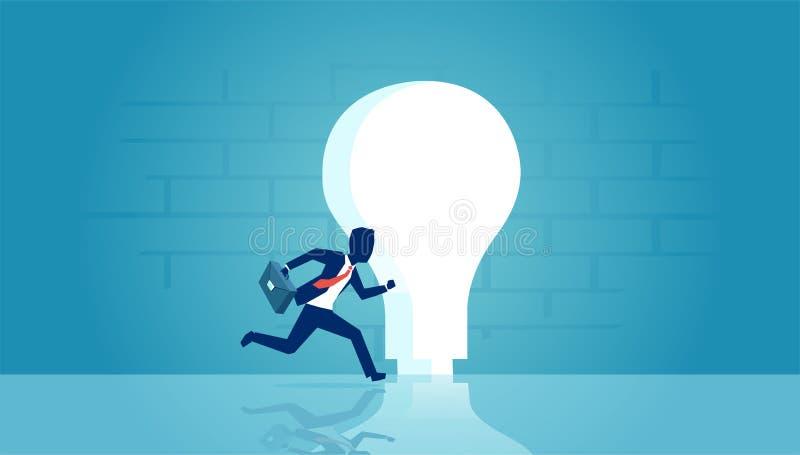 Vetor de um homem de negócios que corre no buraco da fechadura dado forma como a ampola brilhante ilustração do vetor