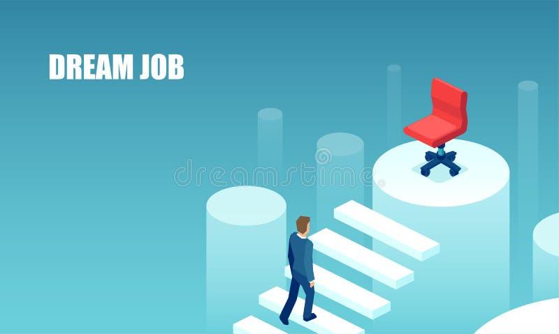 Vetor de um homem de negócios que escala acima a escada da carreira para seu trabalho ideal ilustração do vetor
