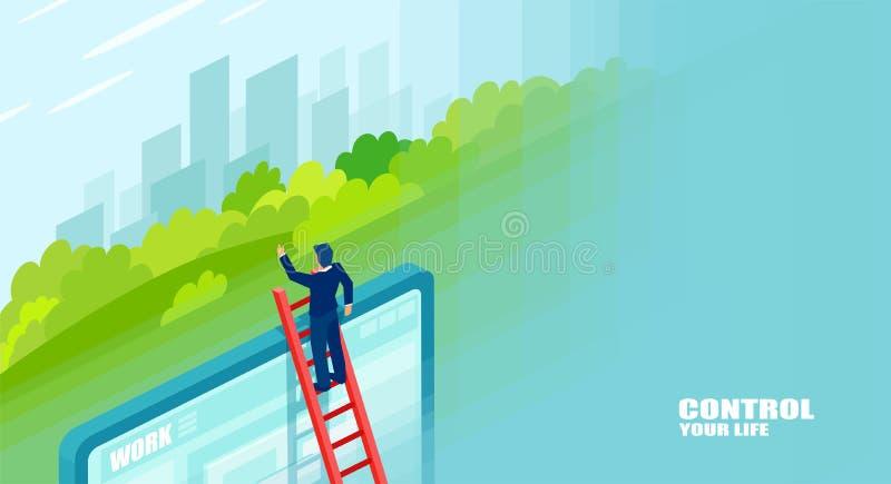 Vetor de um homem de negócios que escala acima uma escada para obter uma perspectiva distinta de sua vida ilustração stock