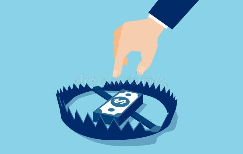Vetor de um homem de negócios que tenta alcançar a armadilha do dinheiro com cédulas do dólar ilustração stock