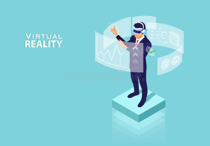 Vetor de um homem de negócios que usa a tecnologia da realidade virtual para a análise de dados financeira e a gestão de tempo ef ilustração royalty free