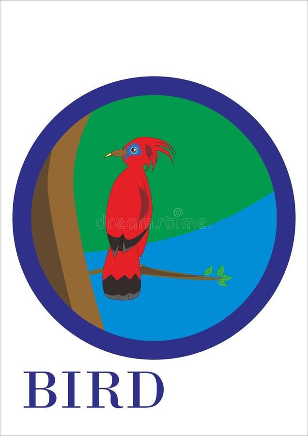 Vetor de um pássaro que seja empoleirado em um ramo de árvore ilustração royalty free