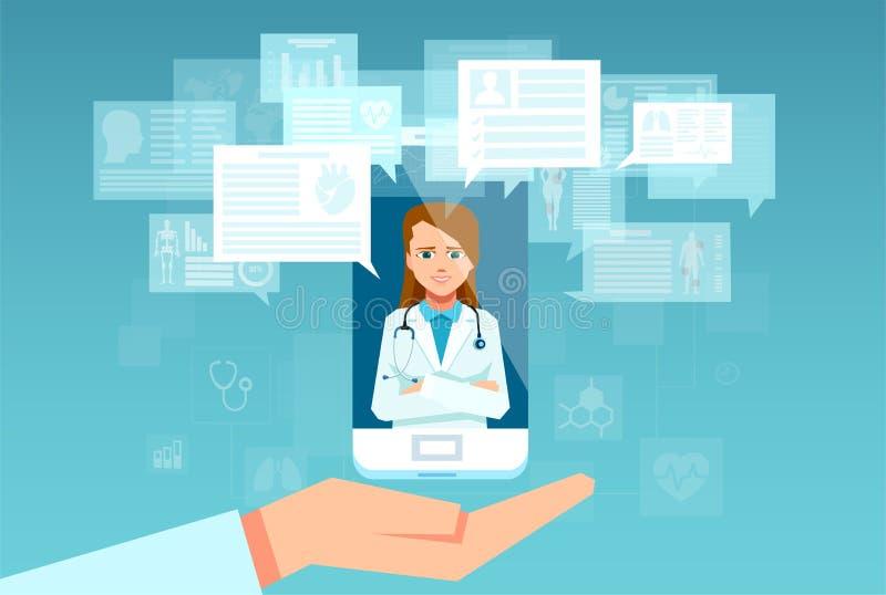 Vetor de um profissional fêmea dos cuidados médicos que responde a perguntas pacientes no app do smartphone ilustração stock