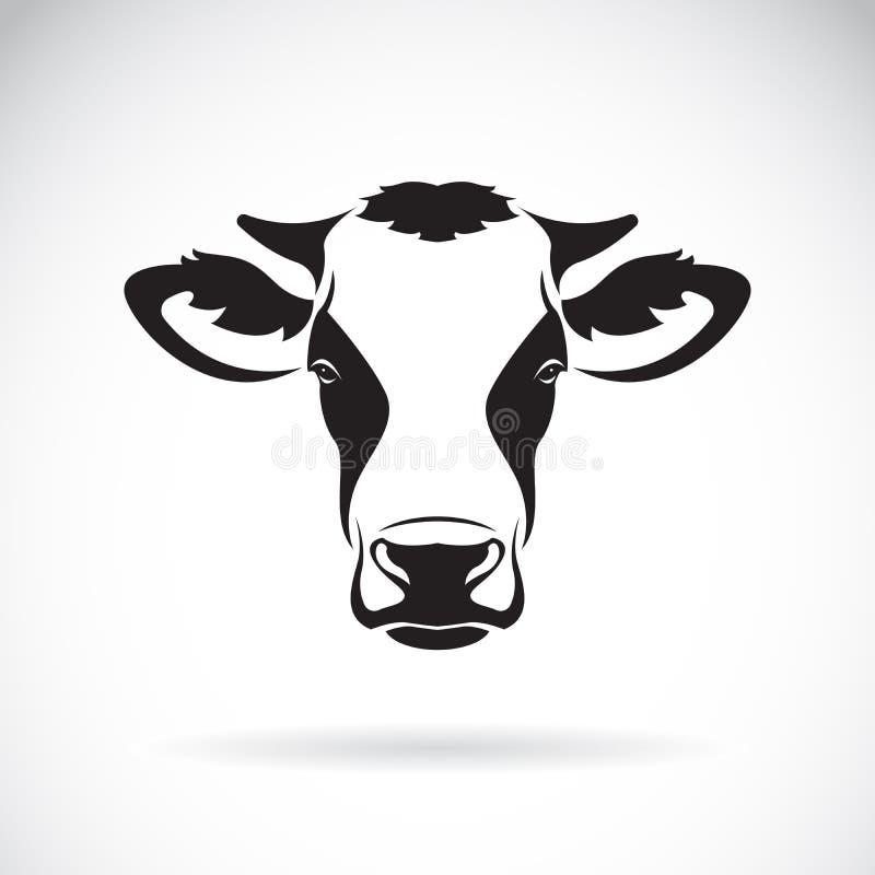 Vetor de um projeto da cabeça da vaca no fundo branco Animal de exploração agrícola Ea
