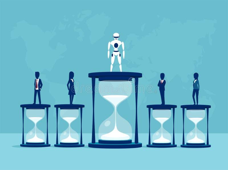 Vetor de um robô que ganha uma competição com os povos na produtividade ilustração do vetor