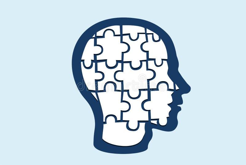 Vetor de uma cabeça dada forma enigma ilustração stock