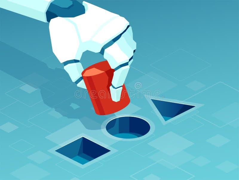 Vetor de uma mão do robô que resolve um problema, teste ilustração do vetor