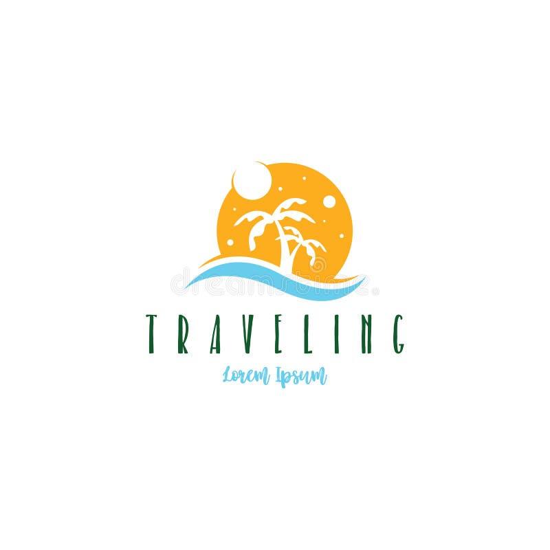 Vetor de viagem do molde do logotipo da praia O logotipo da viagem à praia no verão para apreciar umas férias de verão ilustração do vetor