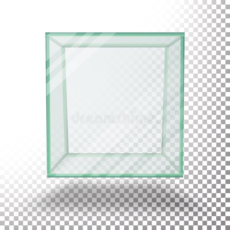 Vetor de vidro transparente vazio do cubo da caixa Isolado na folha quadriculado transparente ilustração do vetor