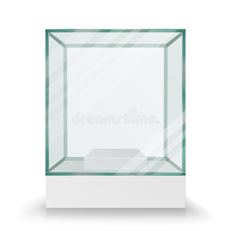 Vetor de vidro transparente vazio do cubo da caixa Para a exposição e a apresentação No formulário do cubo ilustração do vetor