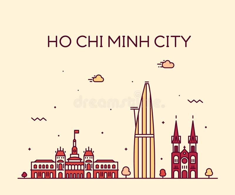Vetor de Vietname da skyline de Ho Chi Minh City Saigon ilustração royalty free