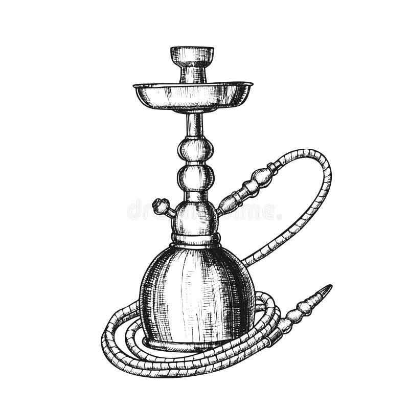 Vetor de Vintage do Equipamento de Relaxe do Café Hookah Lounge ilustração stock