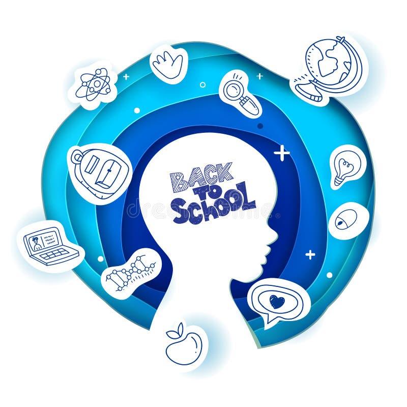 Vetor de volta à arte de papel da cabeça da escola foto de stock royalty free