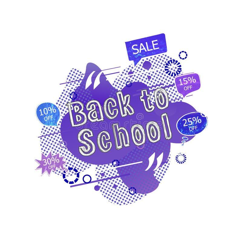 Vetor de volta à etiqueta da venda da escola, bolhas da conversa com por cento fora e inscrição da venda, desenhos de giz colorid ilustração royalty free