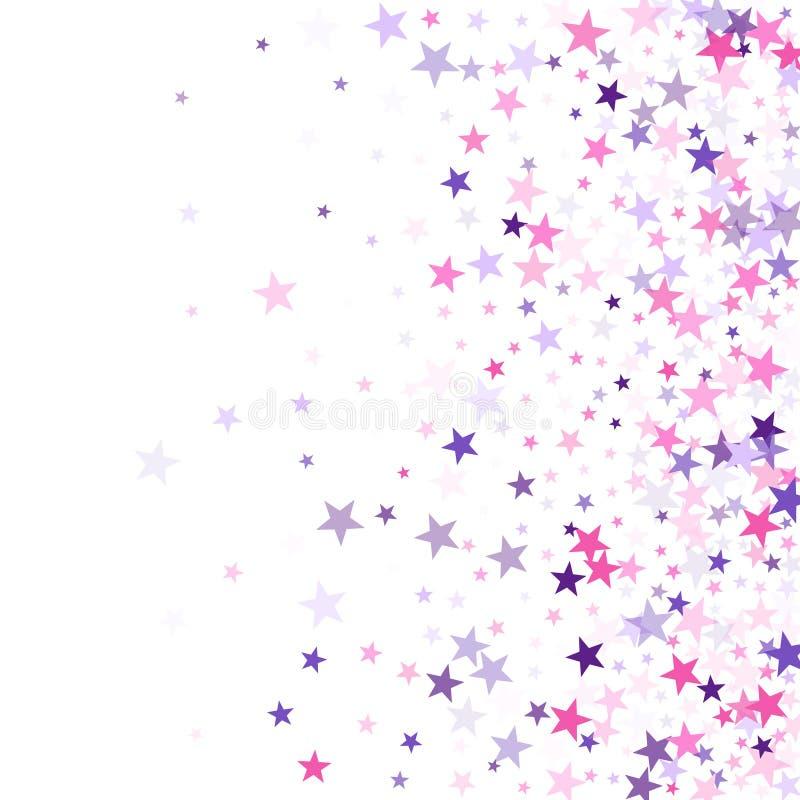 Vetor de voo do feriado dos confetes das estrelas no roxo violeta cor-de-rosa no branco Contexto m?gico do cart?o do conto de fad ilustração do vetor