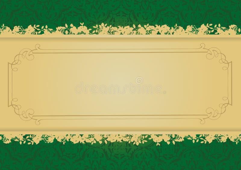 Vetor decorativo da bandeira do verde e do ouro do vintage ilustração royalty free